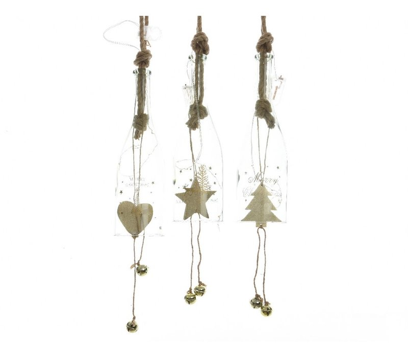 Glasd Bottle with LED Lights & Star, Tree or Heart Decoration