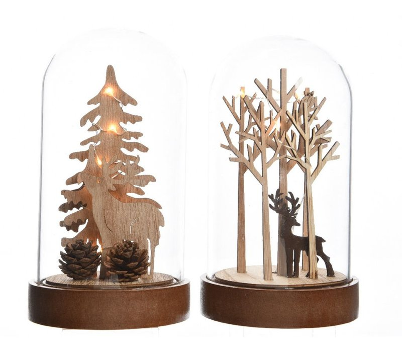 Cloche with plywood scenery of trees & deer with LED Lights