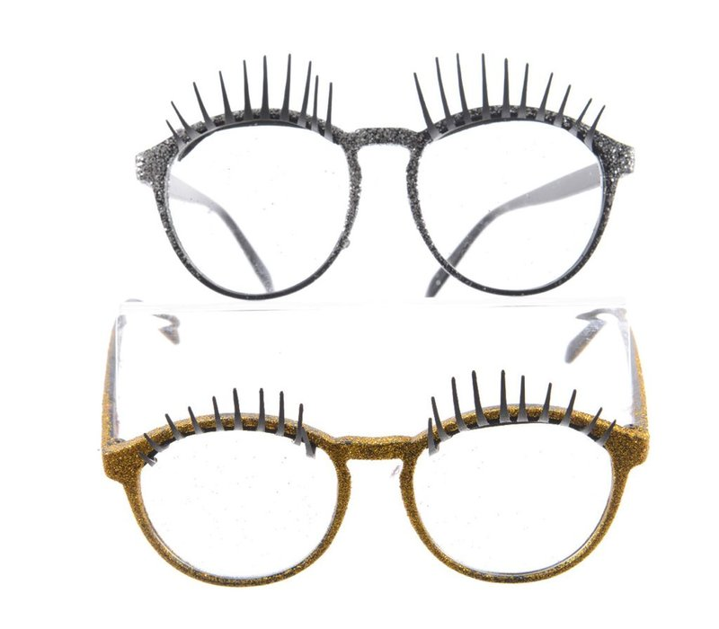 Glasses with Eyelashes in Gold or Silver with Glitter