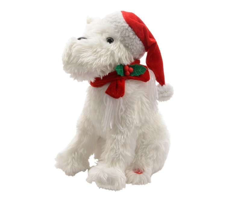 Singing Dog with christmas hat