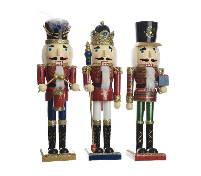 Nutcracker with Glitter in 3 Assortments - Large