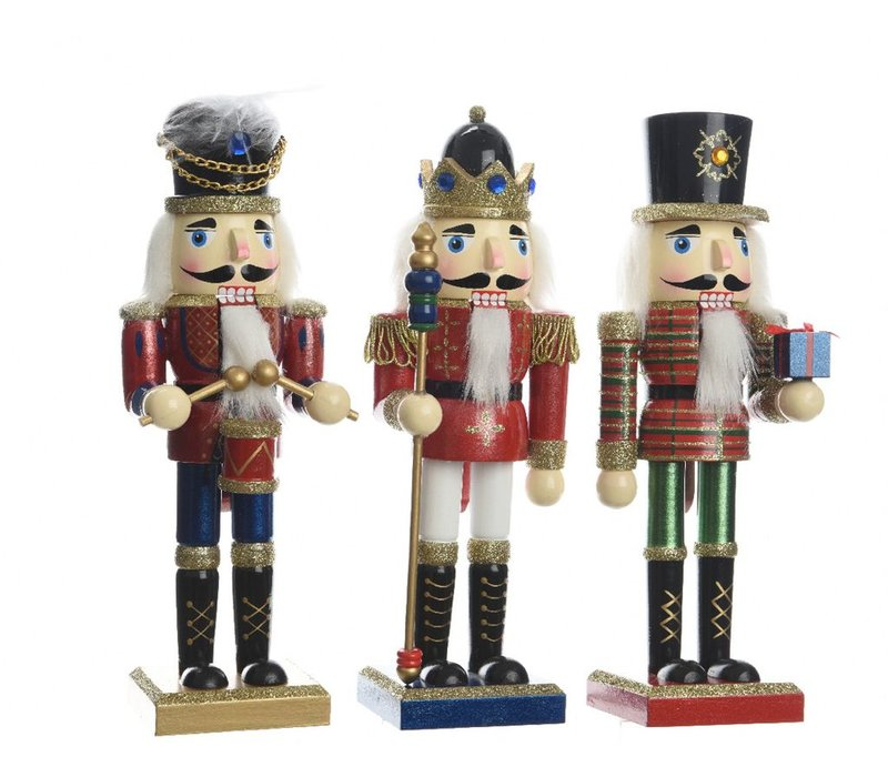 Nutcracker with Glitter in 3 Assortments - Small