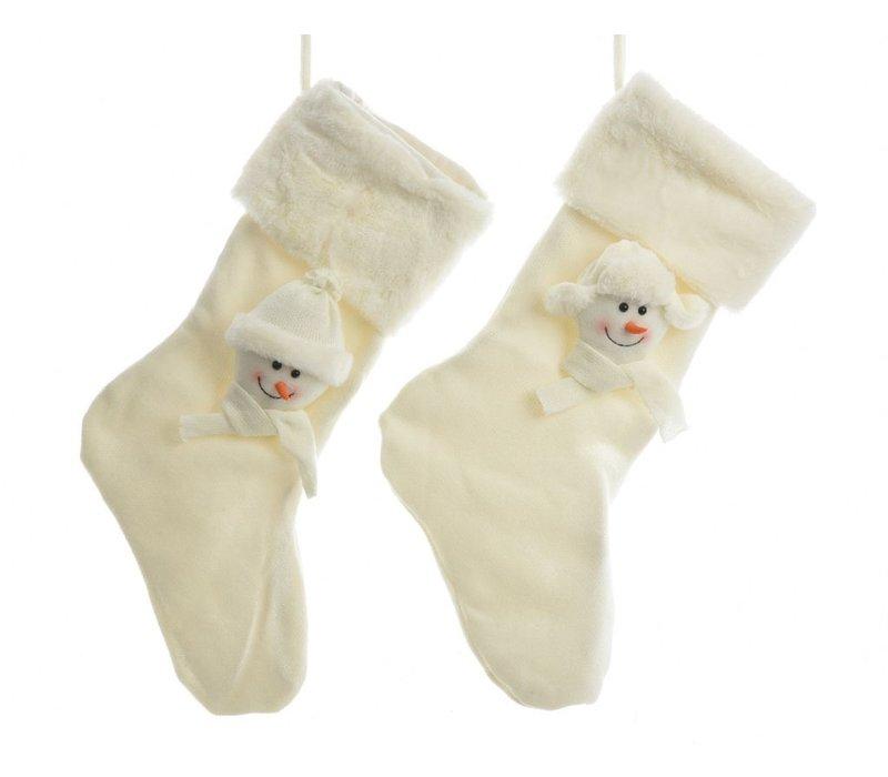 Christmas stocking with Snowmen in white