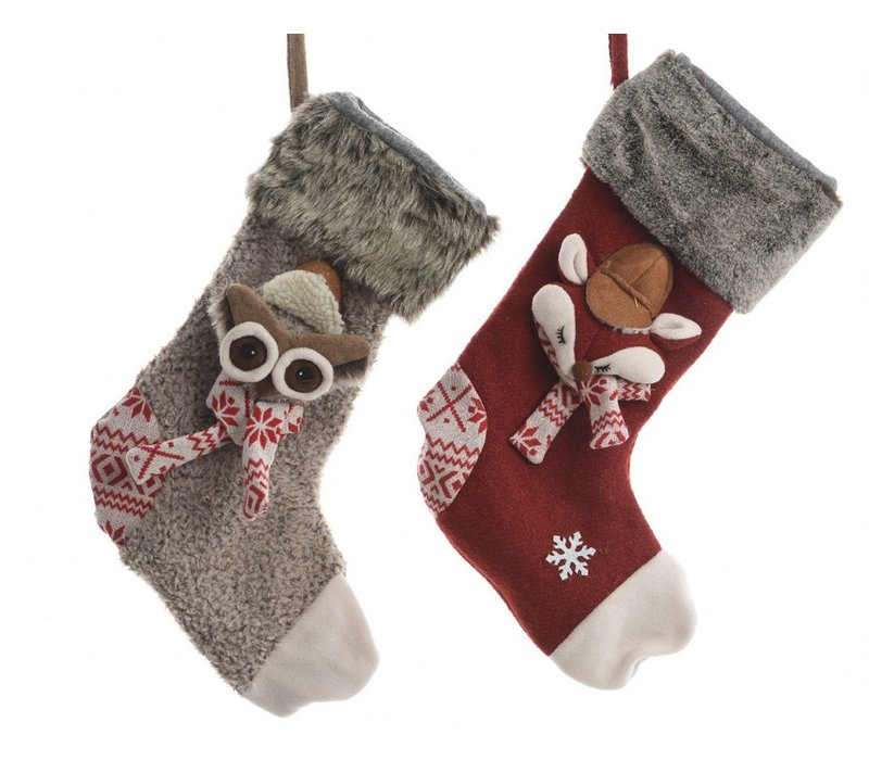 Christmas Stocking with Fox or Owl
