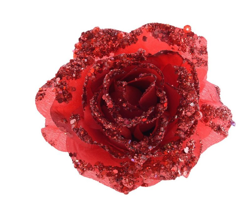 Rose on Clip with Glitter in Red