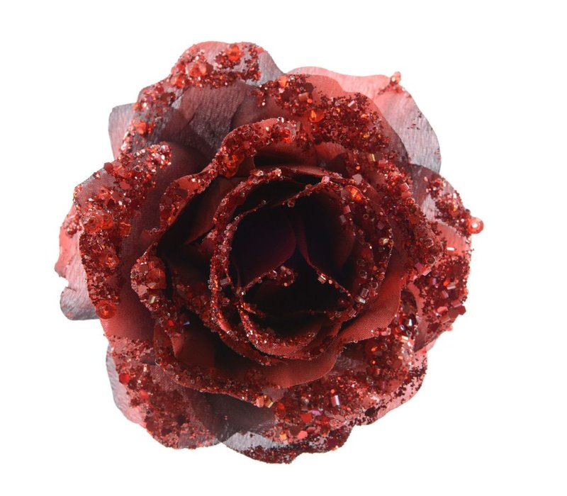 Rose on Clip with Glitter in Oxblood Red