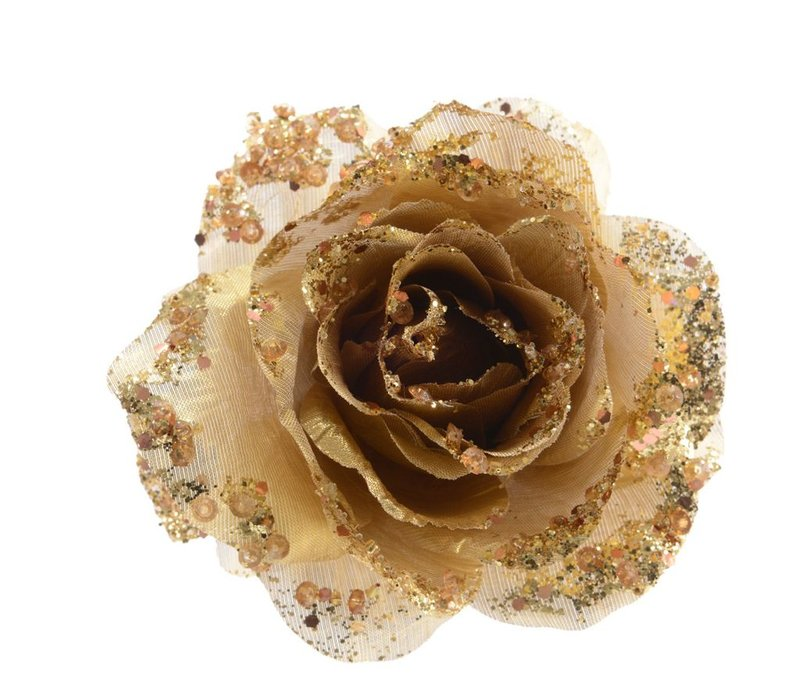 Rose on Clip with Glitter in Gold