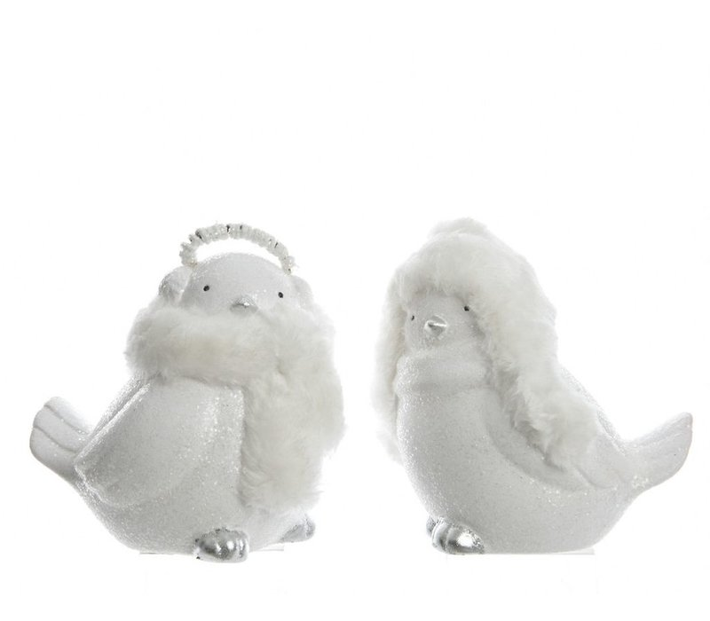 Small Bird with Hat or Earmuff in White