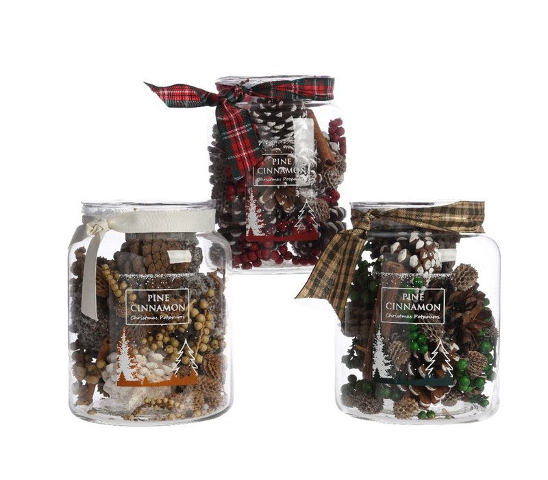 Mixed Pinecones in Glass Jar with Ribbon