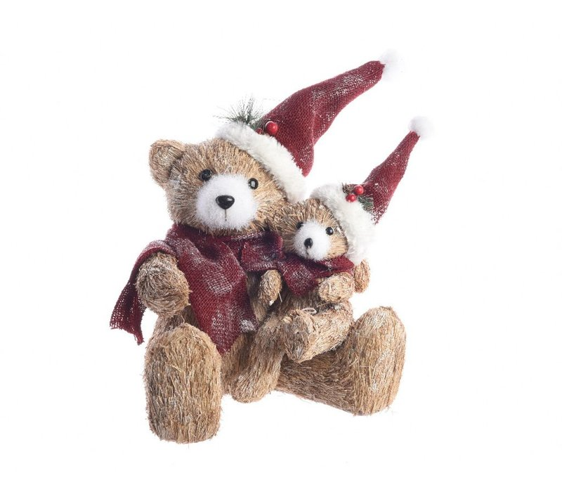 Bear with Baby Bear with Hat & Scarf