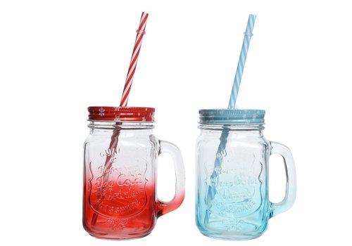Homestore Drinking Jar with Lid & Straw