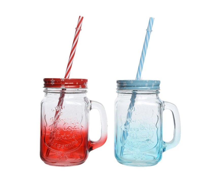 Drinking Jar with Lid & Straw