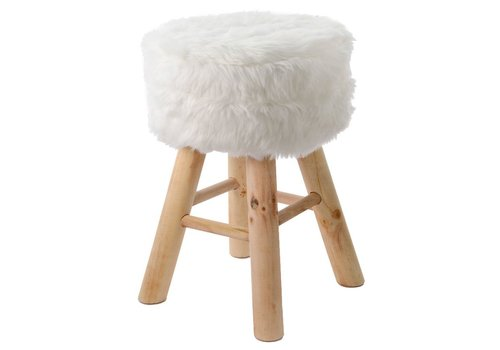 Homestore Footstool with Fur - Natural pine legs - Small