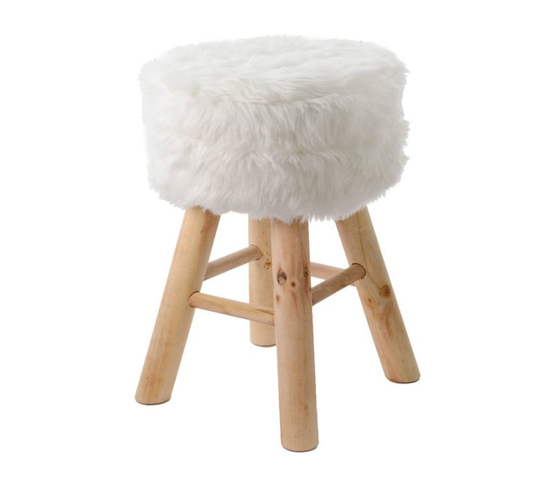 Footstool with Fur - Natural pine legs - Small