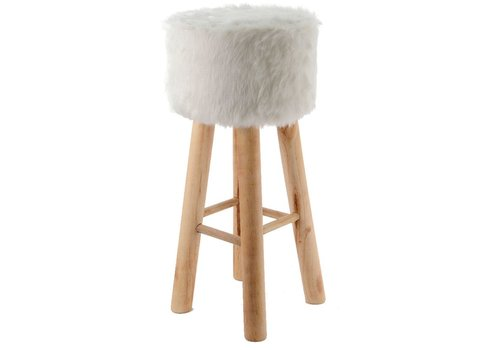Homestore Footstool with Fur - Natural pine legs - large
