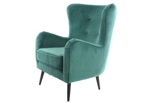 Homestore Pine Green Velvet Armchair with Button Detail