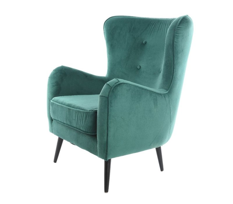 Pine Green Velvet Armchair with Button Detail