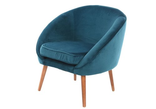 Homestore Petrol Blue Velvet Chair with Piping