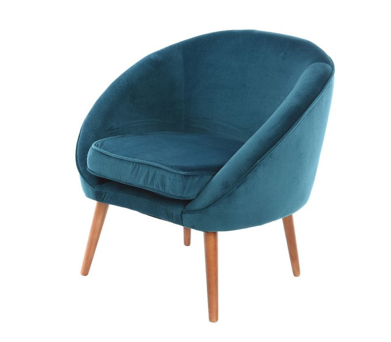 Petrol Blue Velvet Chair with Piping