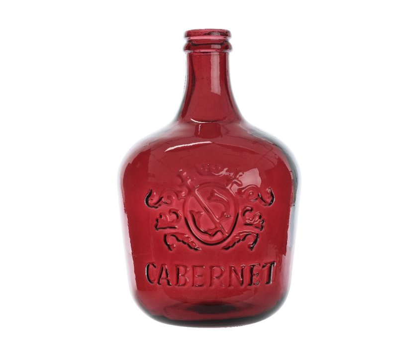 Glass Bottle Wine Vase in Oxblood Red - Small