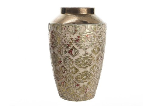 Homestore Stoneware Vase with Design in Red & Gold