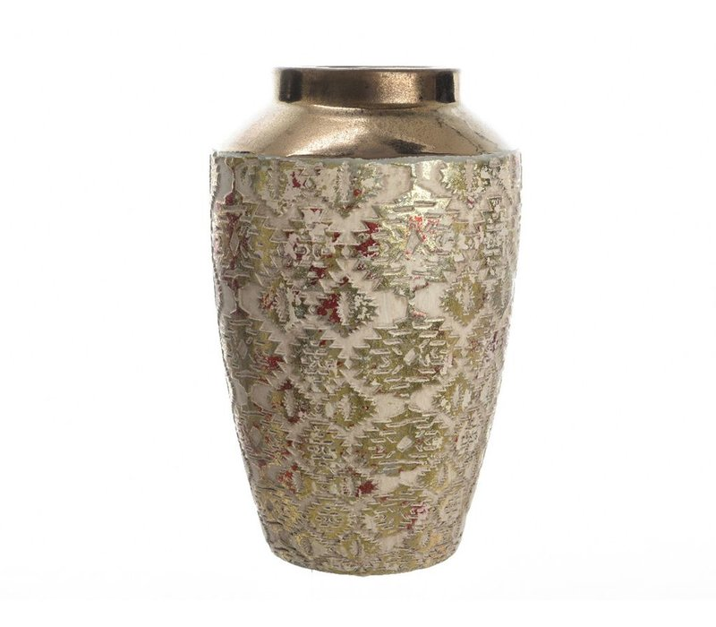 Stoneware Vase with Design in Red & Gold