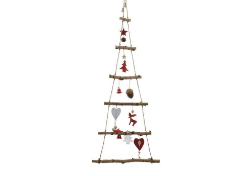 Homestore Birch Christmas tree with hearts, acorns & bells - 100cm
