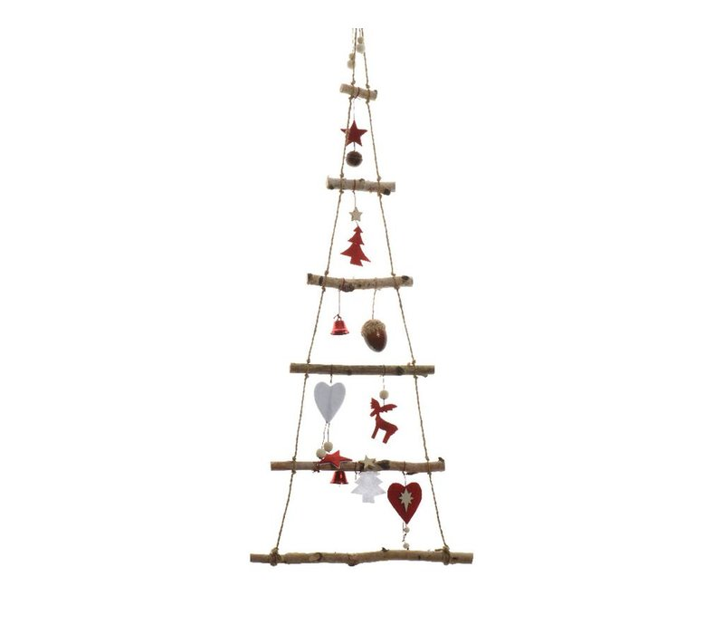 Birch Christmas tree with hearts, acorns & bells - 100cm