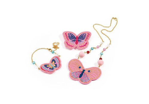 Homestore Charms Hairbrushes - Embroidered jewels butterflies