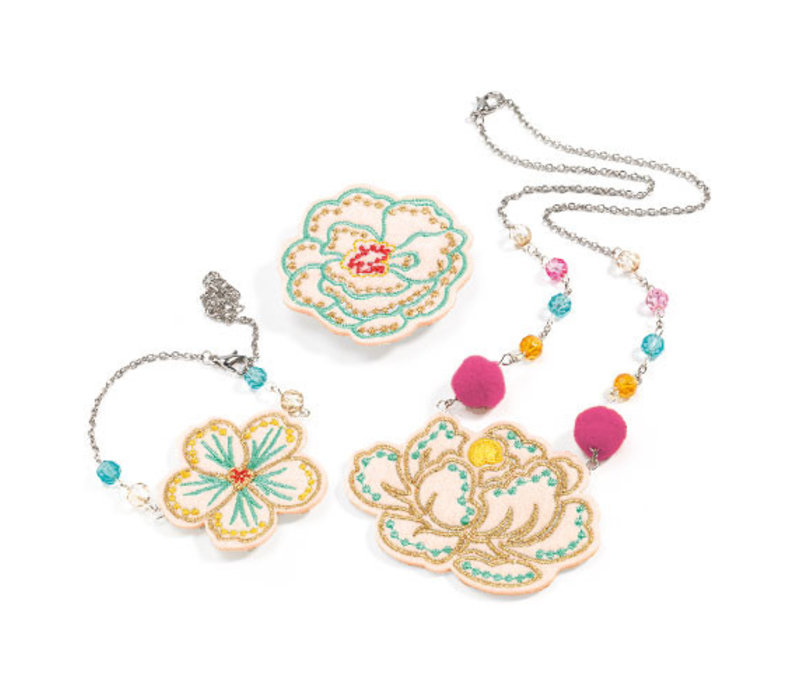 Embroidered jewels flowers