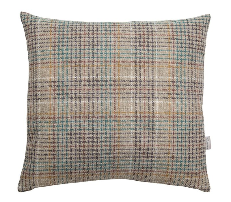 Cushion Multi Natural, Petrol & Mustard 45x45cm