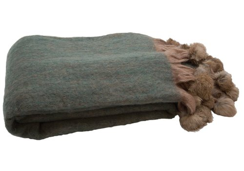 Homestore Blanket Fur Green & Nude 130x180cm