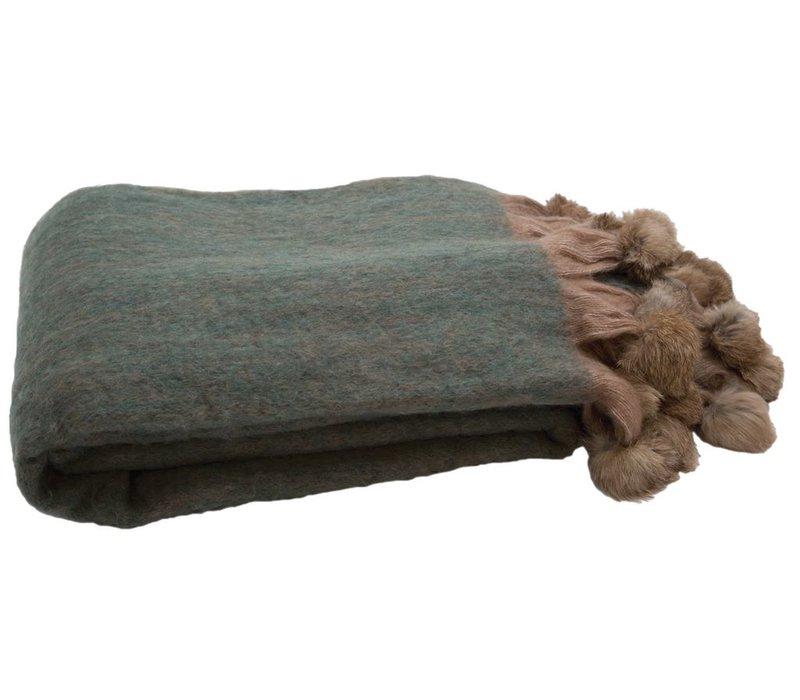 Blanket Fur Green & Nude 130x180cm