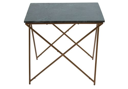 Homestore SideTable Marble Green Square with Gold Legs