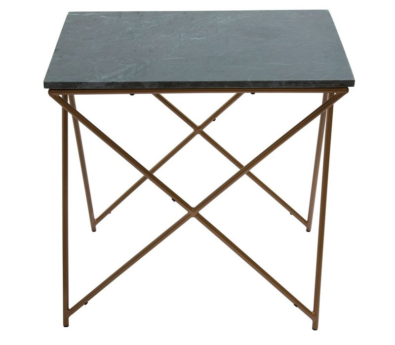 SideTable Marble Green Square with Gold Legs