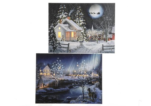 Homestore Snow scenery picture with LED's - 2 assorted