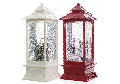Homestore Lantern with snowman or santa with LED's in red or white