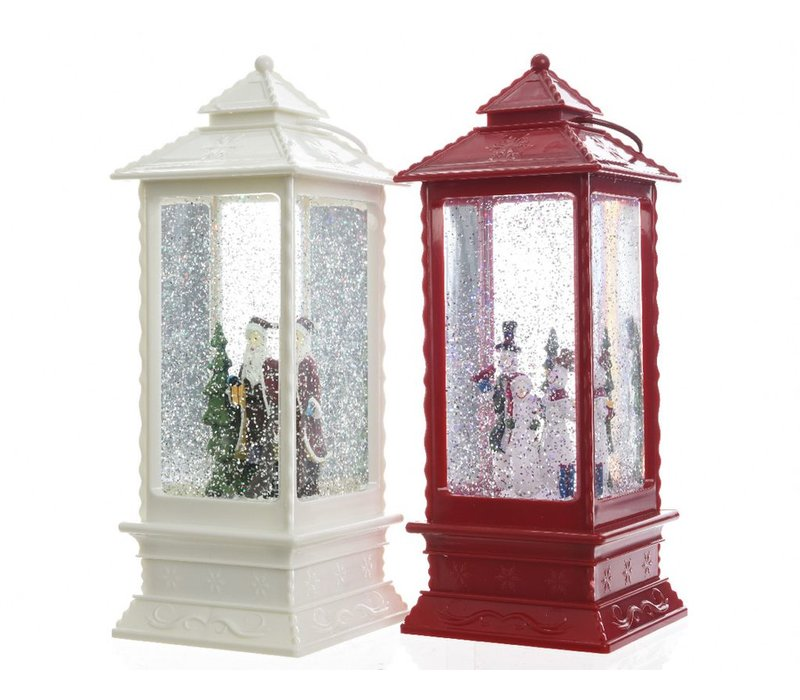 Lantern with snowman or santa with LED's in red or white