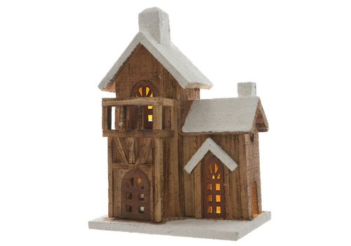 Homestore Wooden House with balcony with LED's in natural & white