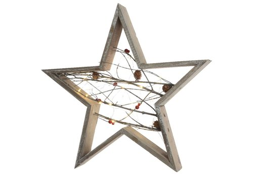 Homestore Wooden Star with micro LED's in grey washed wood