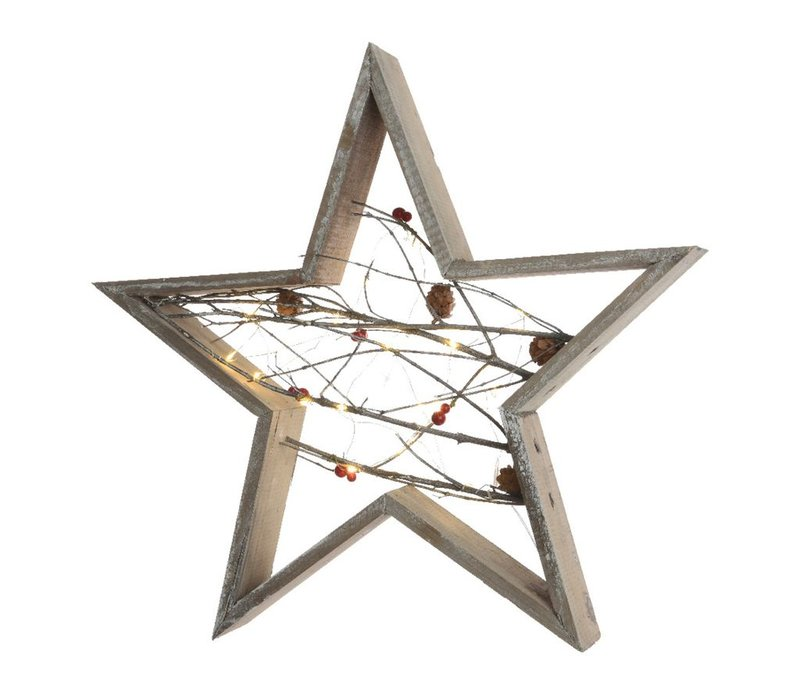 Wooden Star with micro LED's in grey washed wood