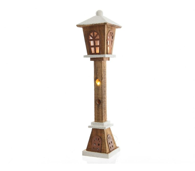 Wooden Lamp post with LED's - small
