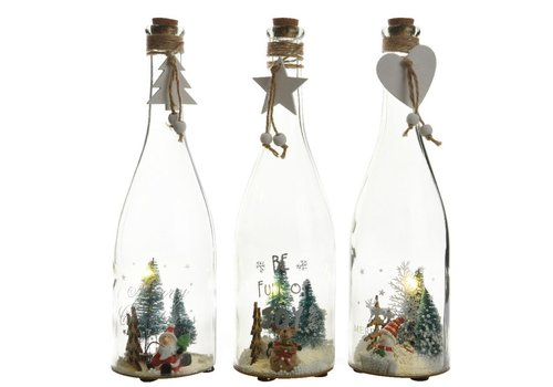 Homestore Glass bottle with assorted scenes with LED's
