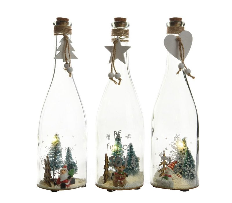 Glass bottle with assorted scenes with LED's