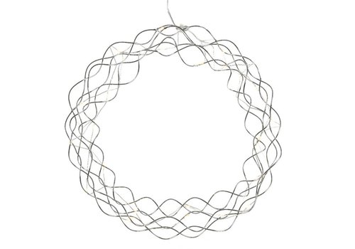 Homestore Metal wreath in silver with micro LED's