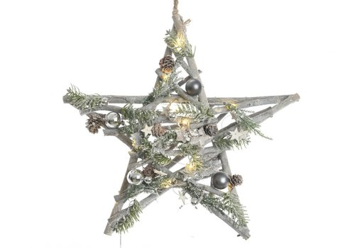 Homestore Hanging Star with decorations & LED's -10L