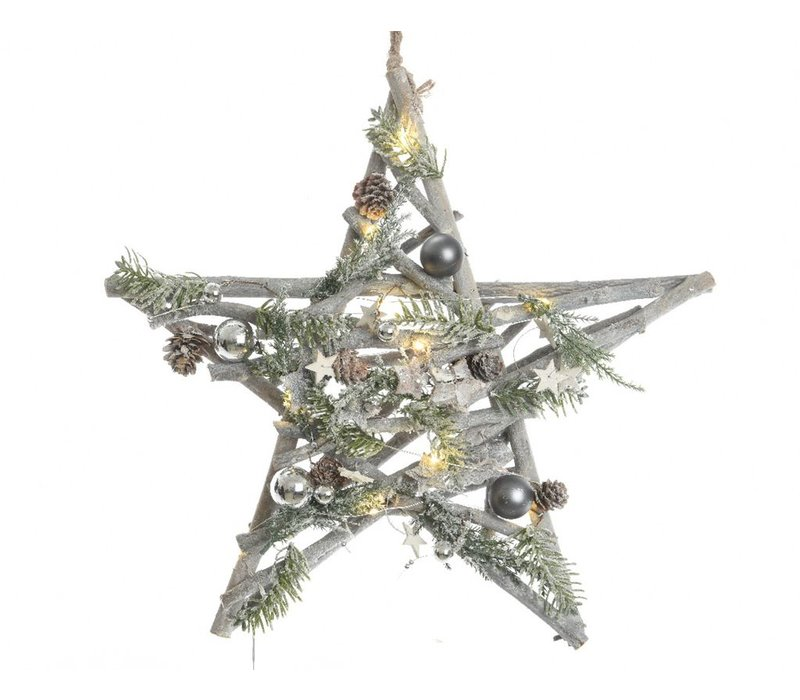 Hanging Star with decorations & LED's -10L