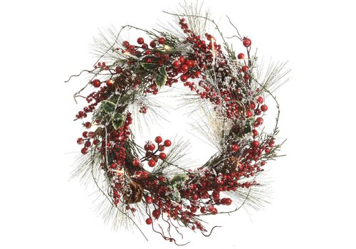 Homestore Pinegreen wreath with berries and LED's - 50cm diameter