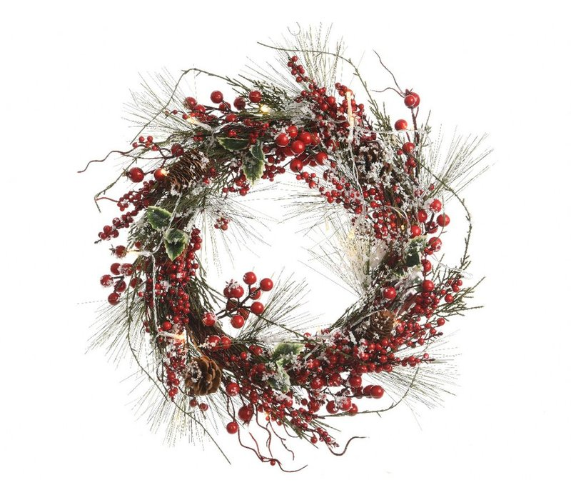 Pinegreen wreath with berries and LED's - 50cm diameter