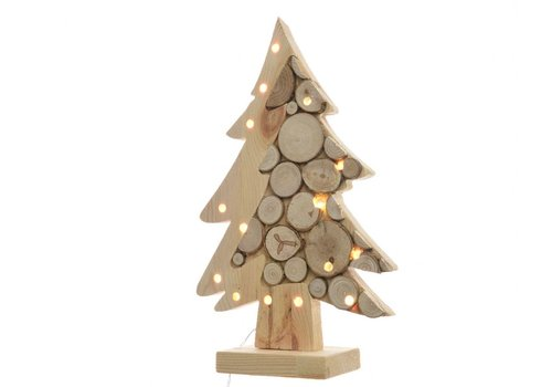 Homestore Wooden Tree on stand with birch wood slices & LED's